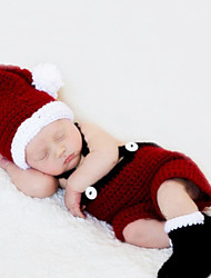 Newborn Prince Vintage Photography Prop Birthday Santa Claus Knitting Hatdress and Shoes Set(0-6Month)