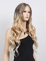 parte livre de onda longa cosplay sintética mulheres peruca de cabelo / peruca midsplit perucas dois tons peruca loira preto