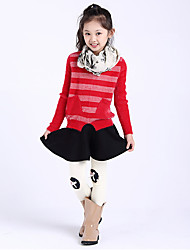 Girl's Casual/Daily Striped Sweater & CardiganWool Winter / Fall Black / Red