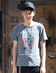 WOWTEE Hommes Col Arrondi Manche Courtes T-shirt Gris / Bleu marine-WT-TX015