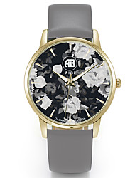Louis Golden Case Flower Dial Grey Leather Strap Watch