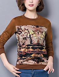 Damen Druck Street Schick Lässig/Alltäglich T-shirt,Rundhalsausschnitt Herbst / Winter Langarm Braun Elasthan / Ziegenleder Mittel