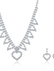 2016 Noble Luxury Heart Square Wedding Bridal Silver Zircon Necklace Earrings Party Jewelry Set