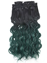 Neitsi 60cm 165g Curl Wavy Clip in on Hair Extension Ombre Green Synthetic Hair Weft 8Pcs/Set