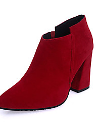 Women Wedding Pointed Toe Leather Boots High Heel Shoes Red