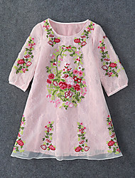 Boutique S Going out Chinoiserie Loose DressEmbroidered Round Neck Mini  Length Sleeve Pink Spandex