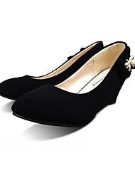 Damen-High Heels-Lässig-Kunstleder-Keilabsatz-Komfort-Schwarz