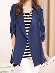 Women's Casual Medium Long Sleeve Long Blazer (Chiffon)