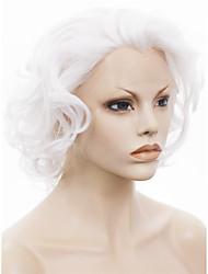 usine de 10qingdao imstyle blanc court bouclés synthétique perruque de cheveux avant de dentelle de drag queen