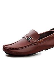 Men's Loafers & Slip-Ons Spring / Fall Comfort PU Casual Flat Heel Slip-on Black / Blue / Brown Sneaker