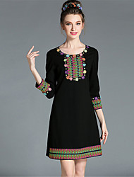 AUFOLI Winter Women Bead Embroidery Color Block 3/4 Sleeve Plus Size Fashion Ethnic Vintage Dress
