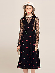 YIGELILA Women's V Neck Long Sleeve Tea-length suit-62126