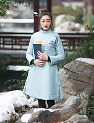 Ample Robe Femme Décontracté / Quotidien Chinoiserie,Fleur Mao Mi-long Manches Longues Bleu Lin Automne / Hiver Taille NormaleNon