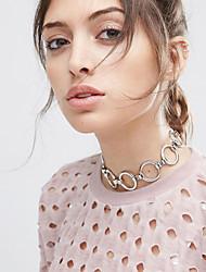 Femme Collier court /Ras-du-cou Forme de Cercle Forme Géométrique Alliage Mode Simple Style Personnalisé Argent Doré Bijoux PourMariage