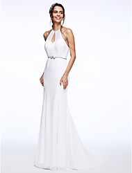 LAN TING BRIDE Trumpet / Mermaid Wedding Dress Beautiful Back Court Train Halter Chiffon Organza with Beading Sash / Ribbon