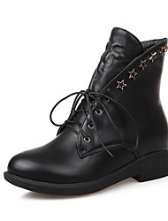 Women's Zipper Pu Round Closed Toe Kitten Heels Solid Boots with Metal Nail