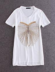 Mulheres Camiseta Happy-Hour Moda de Rua Verão,Sólido Branco Seda / Poliéster Decote V Manga Curta Média
