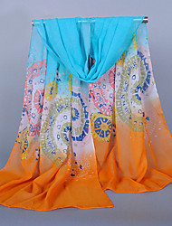 Women's Chiffon Round Ball Print Scarf Orange/Yellow/Red/Wine