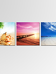 Mini Size VISUAL STAR Seascape Wall Art for Home Decor 3 Panels Beach Giclee Print on Canvas Ready to Hang