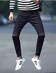 Jeans Pour des hommes Lettre Décontracté Coton Noir