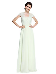 Lanting Bride®A-line Mother of the Bride Dress Floor-length Short Sleeve Chiffon / Lace with Lace / Sash / Ribbon / Ruching
