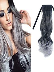 22-дюймовый черный микс бабка-серый корпус волна ленты в расширении синтетических волос