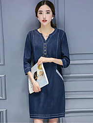 Boutique S Going out Simple Sheath DressSolid V Neck Knee-length Long Sleeve Blue / Red / Black Cotton Summer
