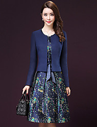 Women's Going out Street chic A Line Dress,Print Round Neck Knee-length Long Sleeve Blue Polyester Fall Set