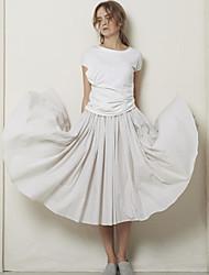 Damen Röcke - Einfach Midi Baumwolle Unelastisch