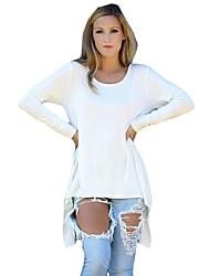Damen Solide Einfach Lässig/Alltäglich T-shirt,Rundhalsausschnitt Herbst Langarm Rot / Weiß / Schwarz / Grün Baumwolle / Leinen