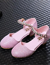 Girl's Heels Spring Fall PU Outdoor Casual Low Heel Lace-up Blue Pink Silver Others