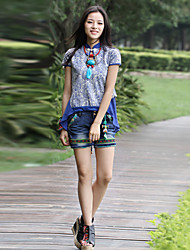 Our Story Women's Embroidered Blue Shorts PantsBoho Summer