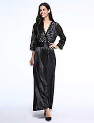 Women's Lace Party Plus Size Dress,Patchwork V Neck Midi ½ Length Sleeve Black Polyester Summer