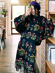 Whisper Wheat Women's Vintage Fall Set SkirtEmbroidered Round Neck Long Sleeve Black Polyester / Nylon Medium
