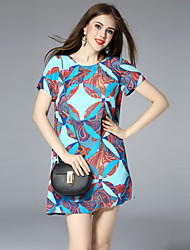 CELINEIA  Going out Simple Loose / Sheath DressGeometric Round Neck Midi Length Sleeve Blue Silk Summer