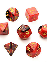 7pc/Set TRPG Games Gaming Dices D4-D20 Multi-sided Dices 6Color