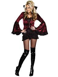 Fantasias Vampiros Dia Das Bruxas Preto Estampado Terylene Vestido / Mais Acessórios