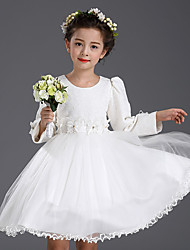 A-line Knee-length Flower Girl Dress - Cotton / Satin / Tulle Long Sleeve Jewel with Flower(s) / Lace