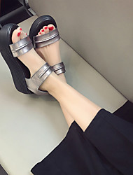 Mujer-Tacón Cuña-Plataforma-Sandalias-Vestido / Casual-Cuero-Negro / Plata