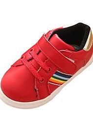 Unisex Sneakers Spring / Fall Comfort PU Casual Flat Heel Magic Tape Red / White Sneaker
