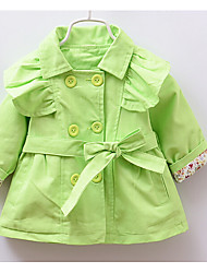 Girl's Casual/Daily Solid Trench CoatCotton Spring / Fall Green / Yellow