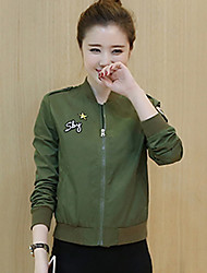 Women's Going out / Casual/Daily / Holiday Cute / Active / Punk & Gothic Spring / Fall JacketsSolid  Green Polyester