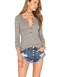 Damen Solide Einfach / Street Schick Ausgehen / Strand T-shirt,V-Ausschnitt Alle Saisons Langarm Grau Baumwolle / Kunstseide Mittel