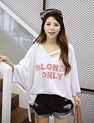 Damen Buchstabe Einfach Ausgehen T-shirt,V-Ausschnitt Herbst Langarm Blau / Weiß Baumwolle Dünn