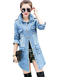 Women's Going out Vintage  Denim Jackets,Solid Shirt Collar Long Sleeve Blue