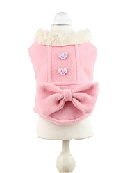 Lady Woolen Bownot Coat Dogs Winter Clothes for Pets Pupy Clothing (Assorted Sizes and Clours)