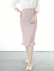 Damen Röcke - Einfach Knielang Baumwolle Dehnbar