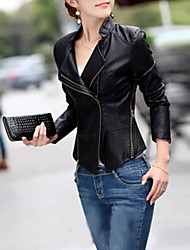 Women's Casual/Daily Punk & Gothic Spring / Fall / Winter Leather Jackets,Solid Notch Lapel Long Sleeve Black PU Medium