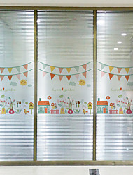 60*58cm Frosted Opaque Glass Window Film Colorful Flower Glass Stickers Decorative Bathroom Sliding door