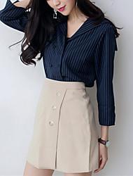 Chemise Femme,Rayé Sortie simple Automne / Hiver Manches Longues Col de Chemise Bleu / Blanc Polyester Moyen